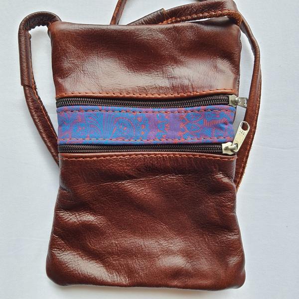 #27 purple, pink & blue shweshwe strip | dark burgundy leather picture