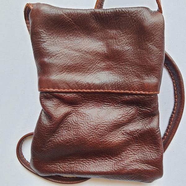 #28 blue, yellow & pink shweshwe strip | dark burgundy leather picture