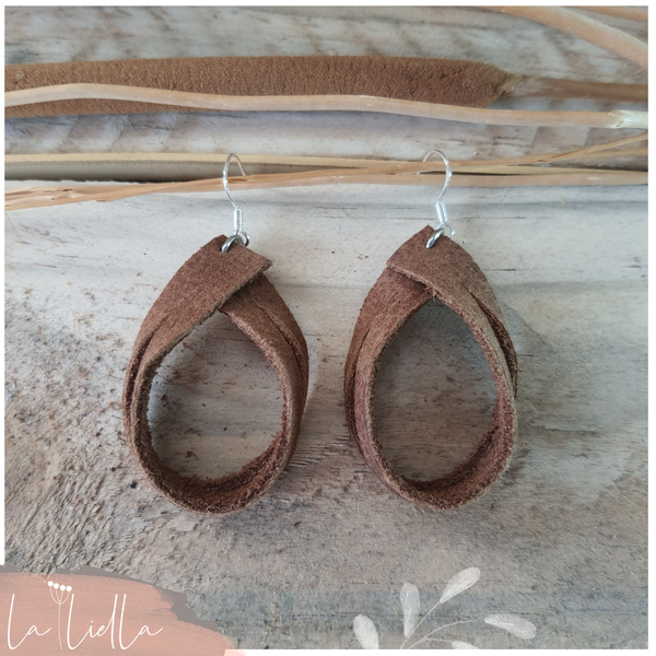 #57 leather ribbon double hoops | rusty caramel picture