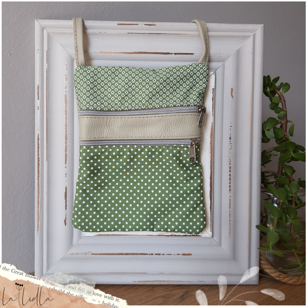 #14c green, white shweshwe with dots | greenish-grey leather sling bag picture