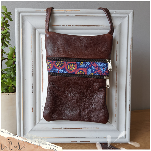 #7 blue, pink, yellow shweshwe | burgundy brown leather sling bag picture
