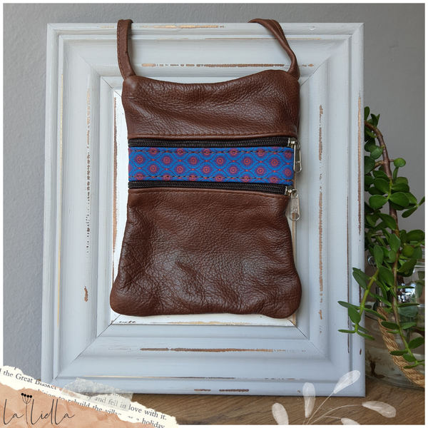 #24 pink, blue & purple shweshwe strip | brown leather picture