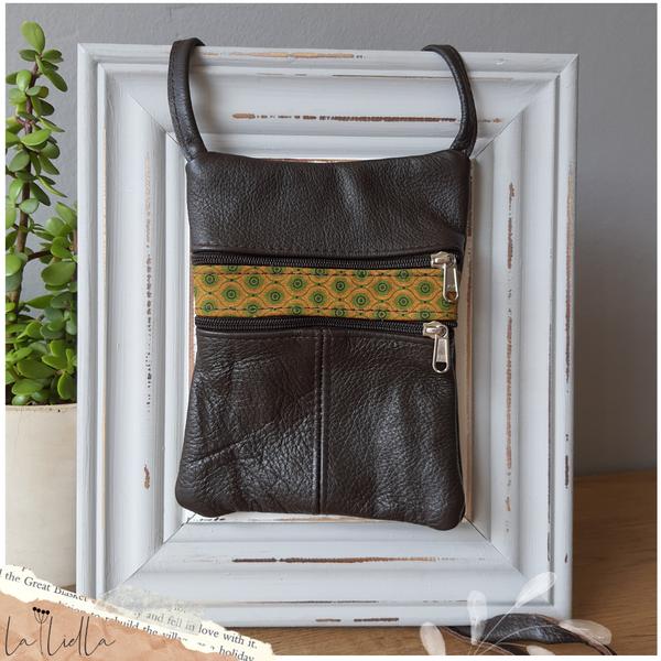 #6 yellow, green shweshwe |choc leather sling bag picture