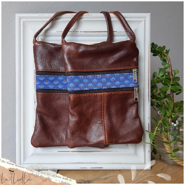 #5 blue shweshwe | burgundy brown leather sling bag picture