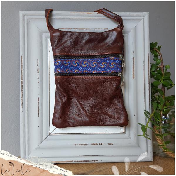 #29 yellow, blue & pink shweshwe strip | dark burgundy leather picture