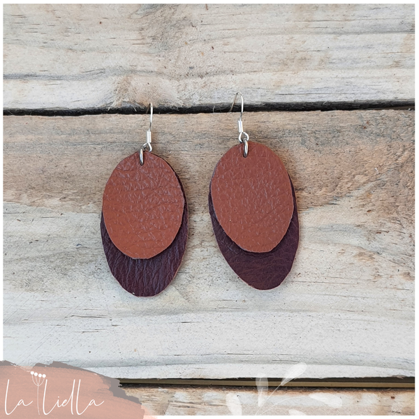#61 stacked ovals   burgundy & red clay brown picture