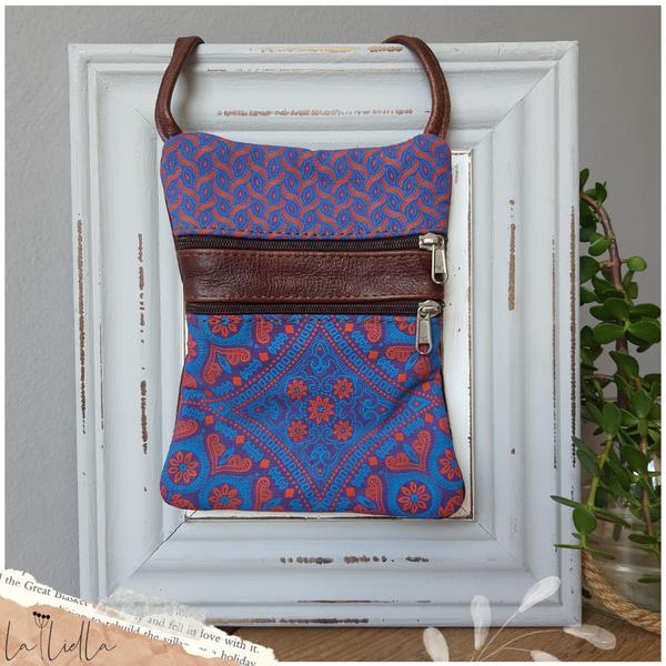 #37 pink, blue & purple shweshwe | dark burgundy leather picture