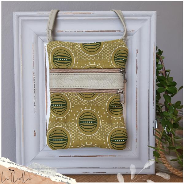 #33 mustard, green and white shweshwe | cream-greyish leather picture
