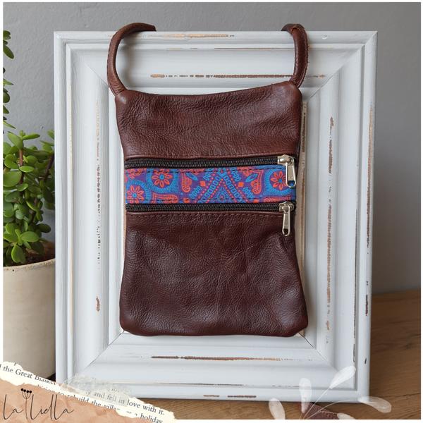 #8 blue, pink, purple shweshwe | burgundy brown leather sling bag picture