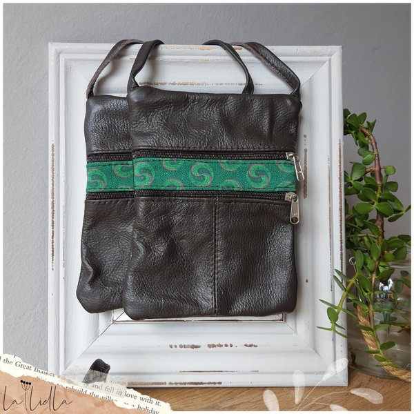 #20 green & pink shweshwe strip | choc leather picture