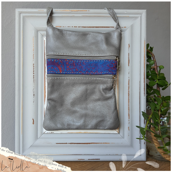 #30 blue, purple & pink shweshwe strip | grey leather picture