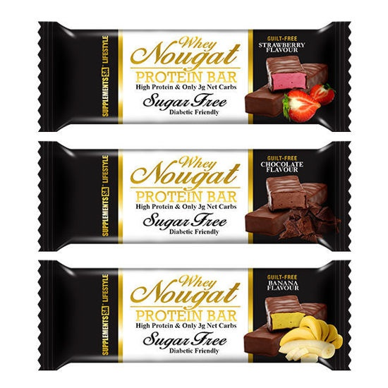 Guilt free protein nougat bar picture