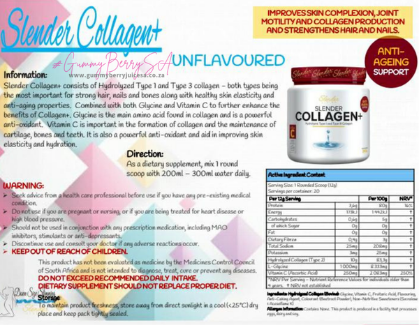 Slender living collagen+ unflavoured pure picture
