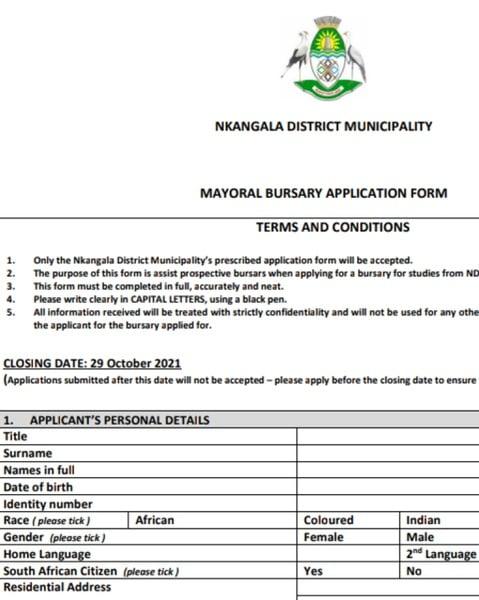 NKANGALA DISTRICT MUNICIPALITY   MAYORAL BURSARY APPLICATION FORM picture