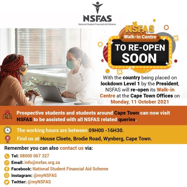 NSFAS Walk-In Centre To Open Tomorrow 10 October picture