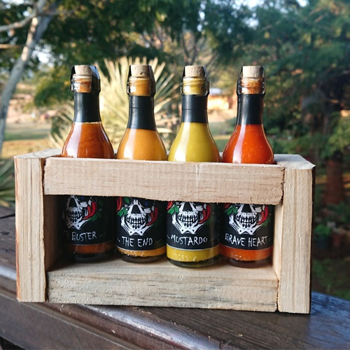 Combo hot sauce in hand made wooden box picture