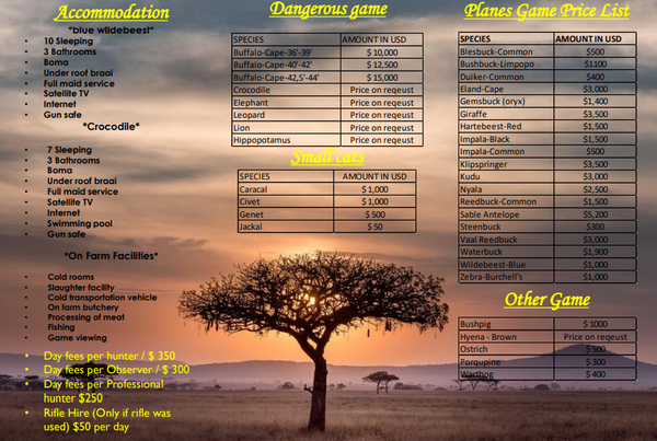 Hunting price list picture