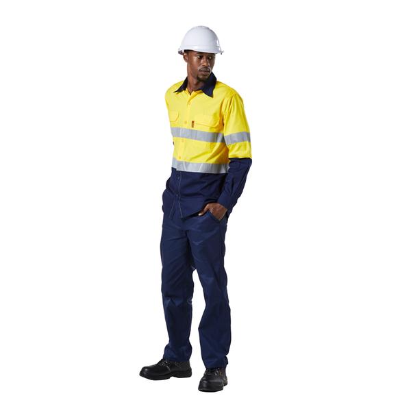 Dromex hi-vis long sleeve reflective shirt yellow/navy picture