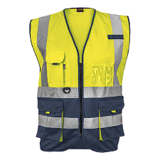 Hi-viz reflective two-tone signaling vest c/w zip & id pouch - lime/navy or orange/navy picture