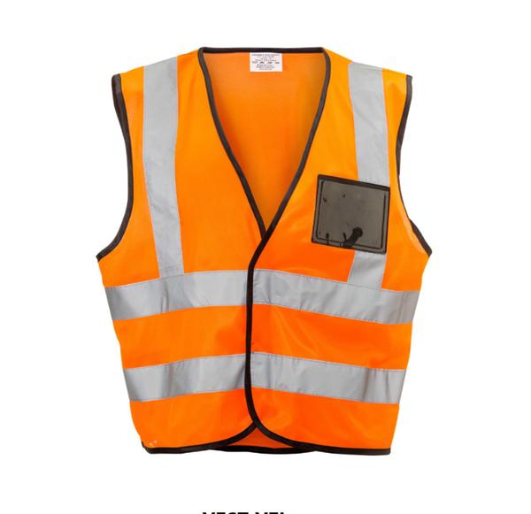 Orange reflective vest velcro id pouch picture