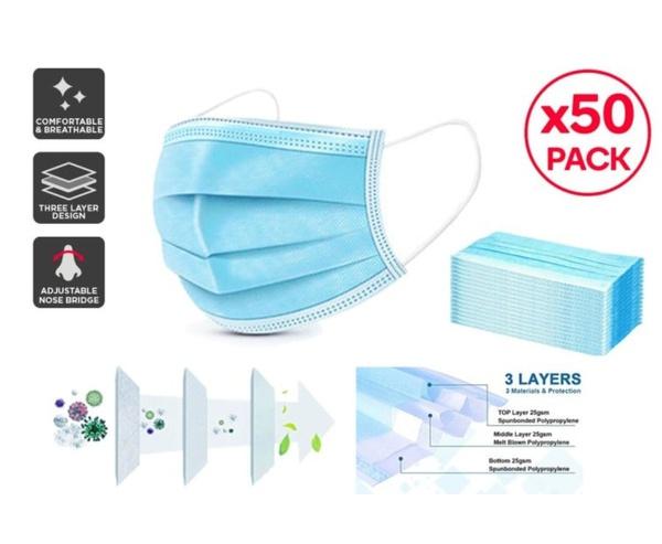 3ply blue masks - disposable - 50pce picture