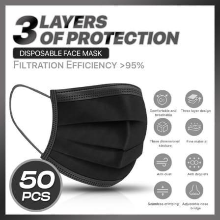 Black disposable masks 50s picture