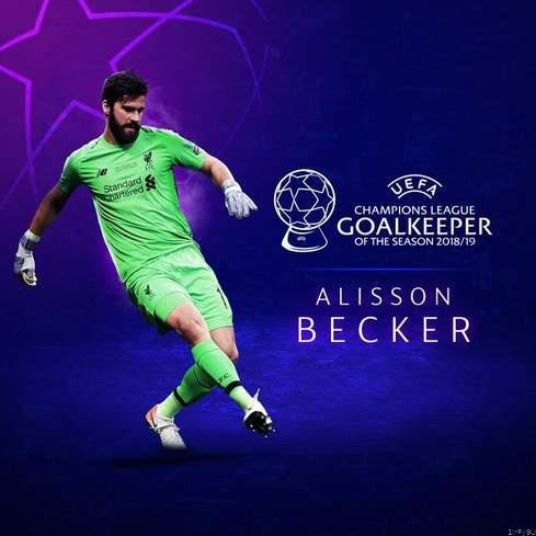 Alisson becker name uefa champions league goalkeeper. picture