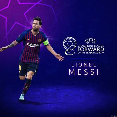 Lionel messi named uefa champions league forward of the season. picture