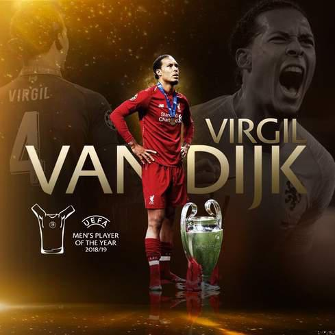 Virgil van dijk crown 👑 uefa player of the season. picture