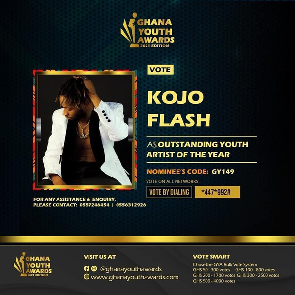Kojo flash nominated at the ghana youth awards 2021 edition picture